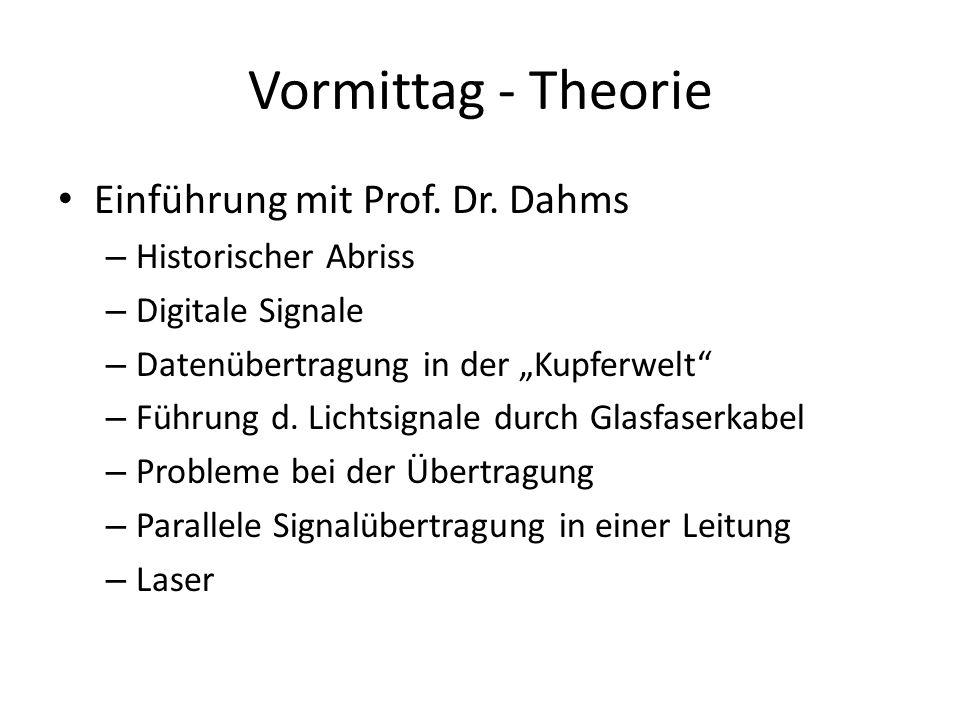 Vormittag - Theorie Einführung mit Prof. Dr. Dahms Historischer Abriss