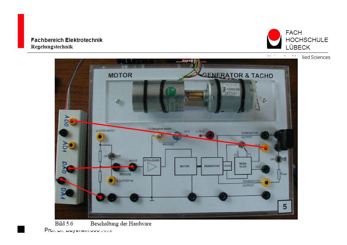 FACH HOCHSCHULE LÜBECK Fachbereich Elektrotechnik Regelungstechnik