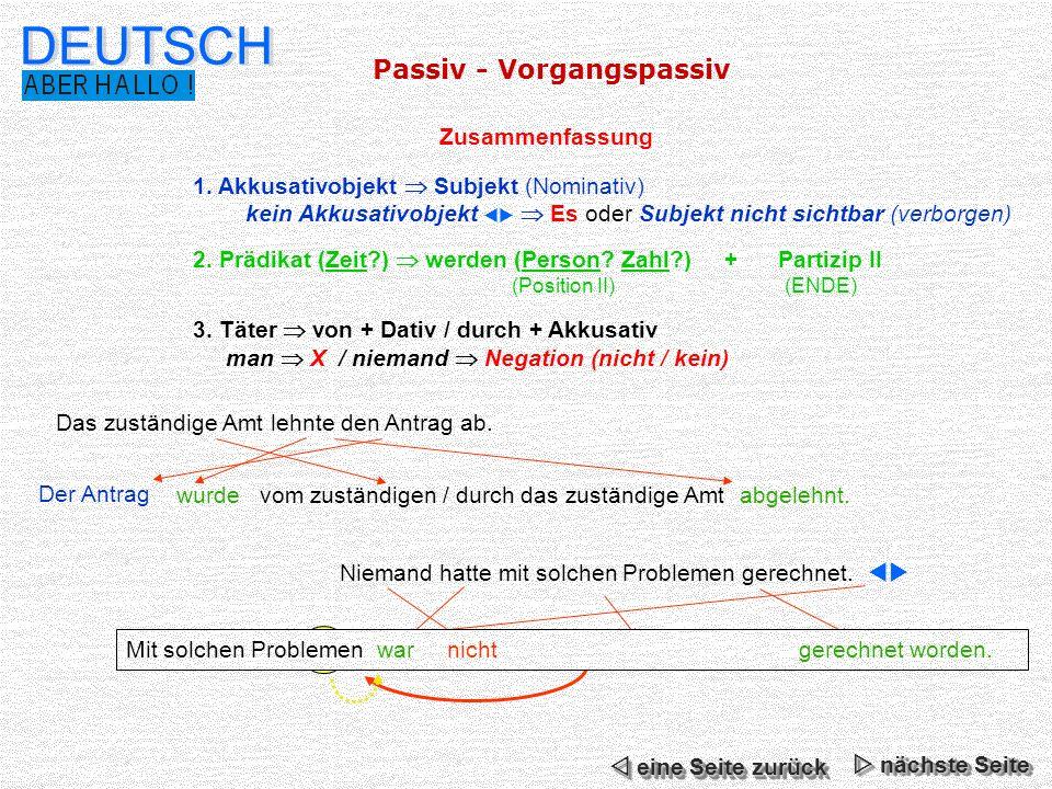 DEUTSCH Passiv - Vorgangspassiv Zusammenfassung