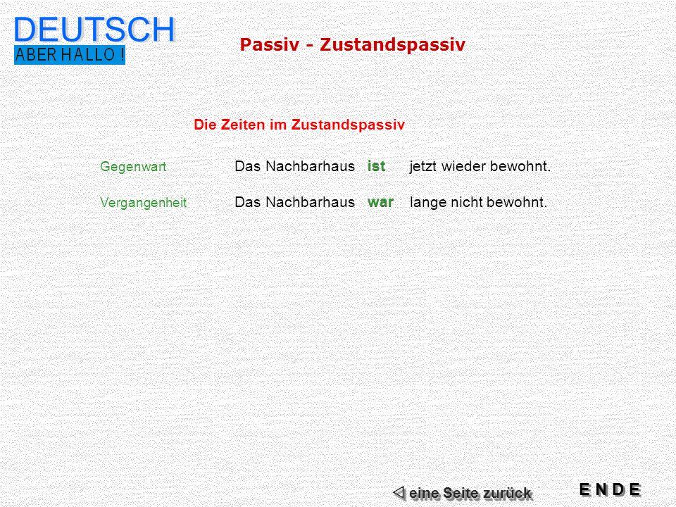 DEUTSCH Passiv - Zustandspassiv E N D E Die Zeiten im Zustandspassiv