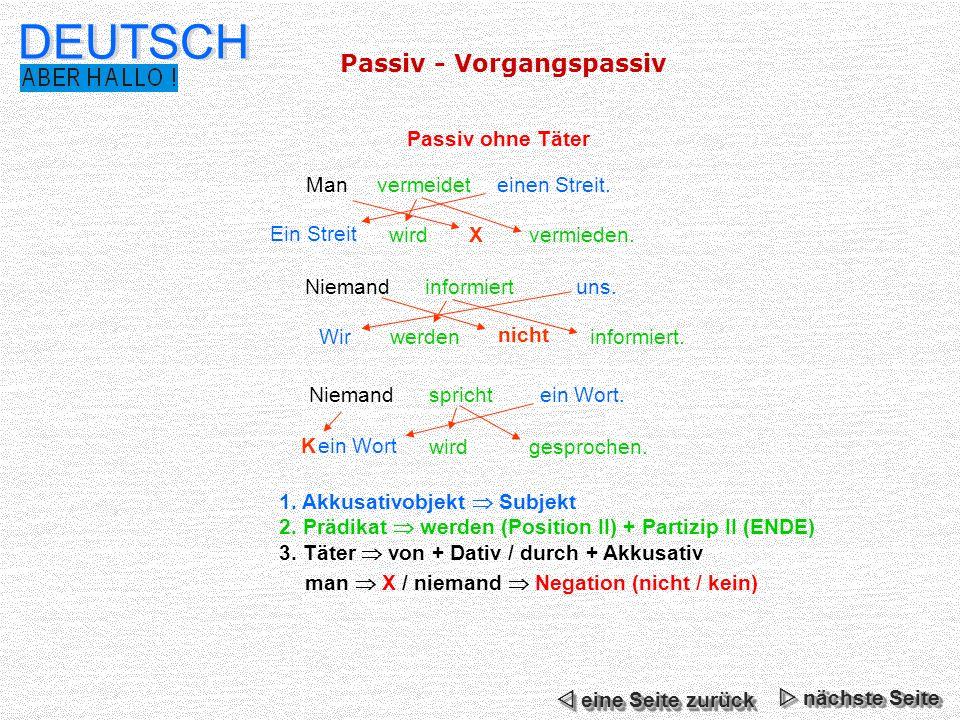 DEUTSCH Passiv - Vorgangspassiv Passiv ohne Täter