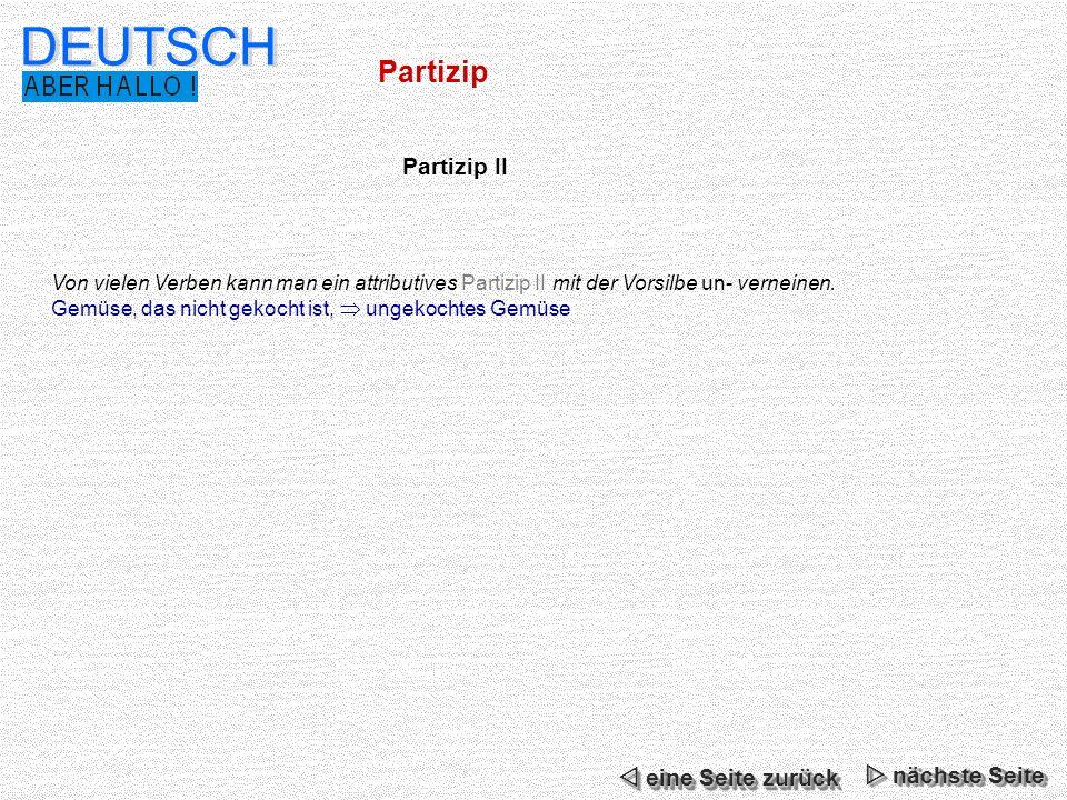 DEUTSCH Partizip Partizip II  eine Seite zurück  nächste Seite