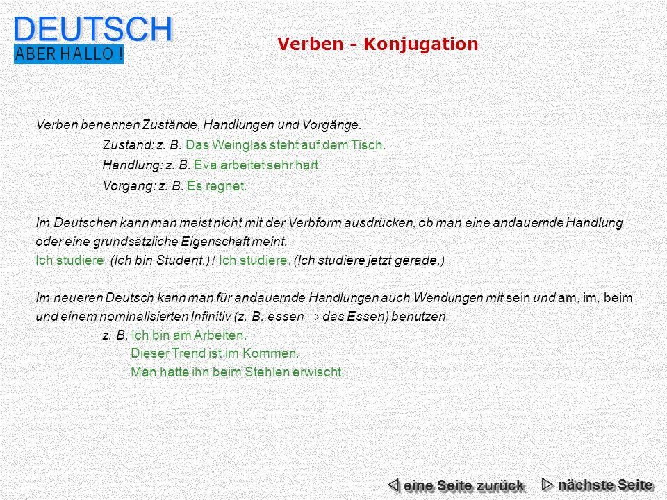DEUTSCH Verben - Konjugation  eine Seite zurück  nächste Seite