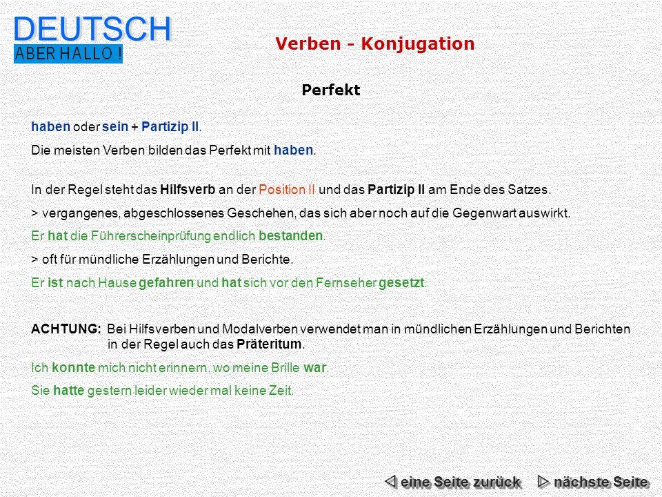DEUTSCH Verben - Konjugation Perfekt  eine Seite zurück