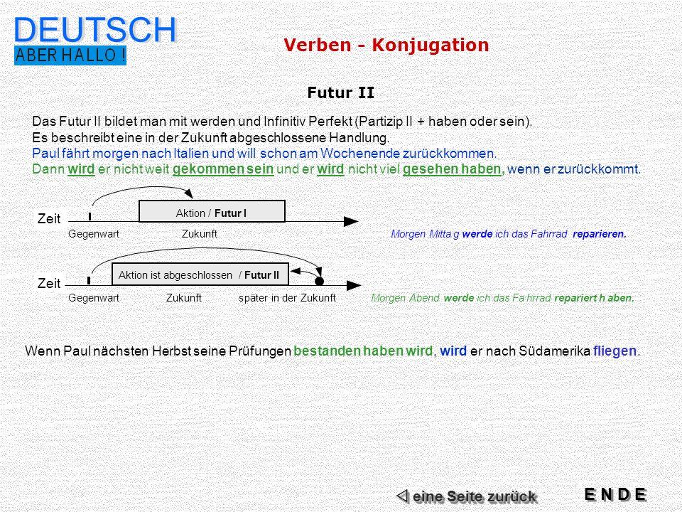 DEUTSCH Verben - Konjugation E N D E Futur II  eine Seite zurück