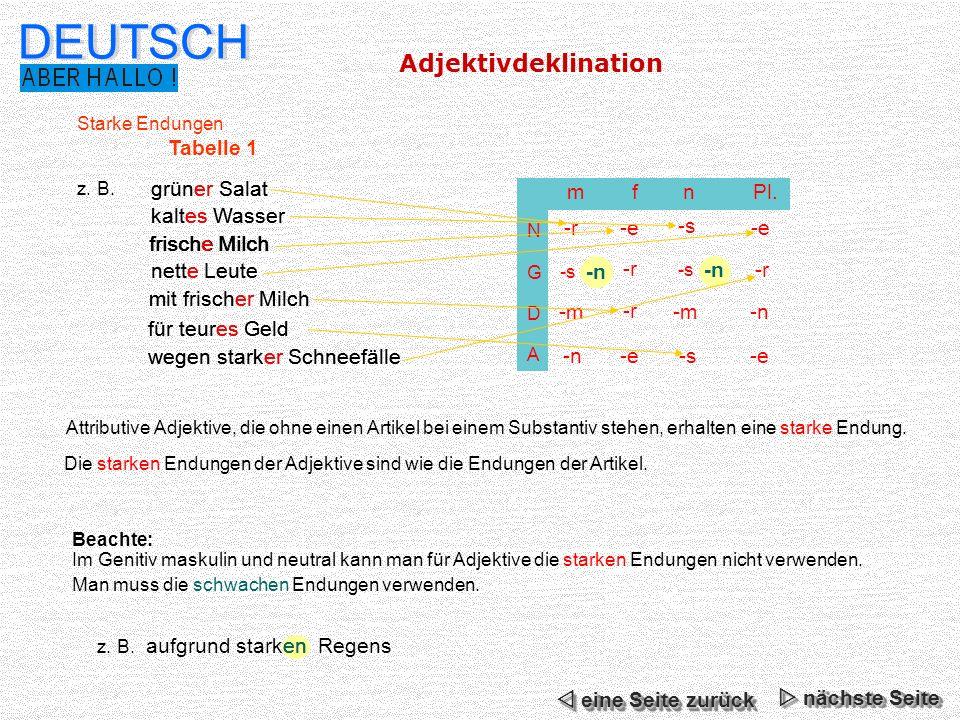DEUTSCH Adjektivdeklination Tabelle 1 grüner Salat grüner Salat m f n