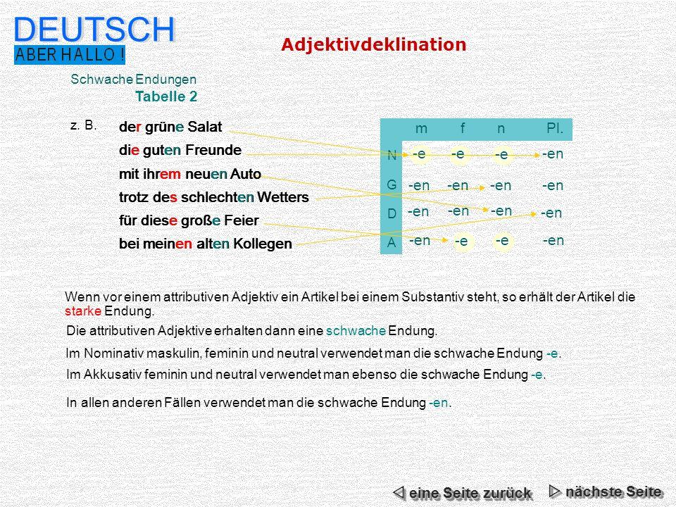 DEUTSCH Adjektivdeklination Tabelle 2 der grüne Salat