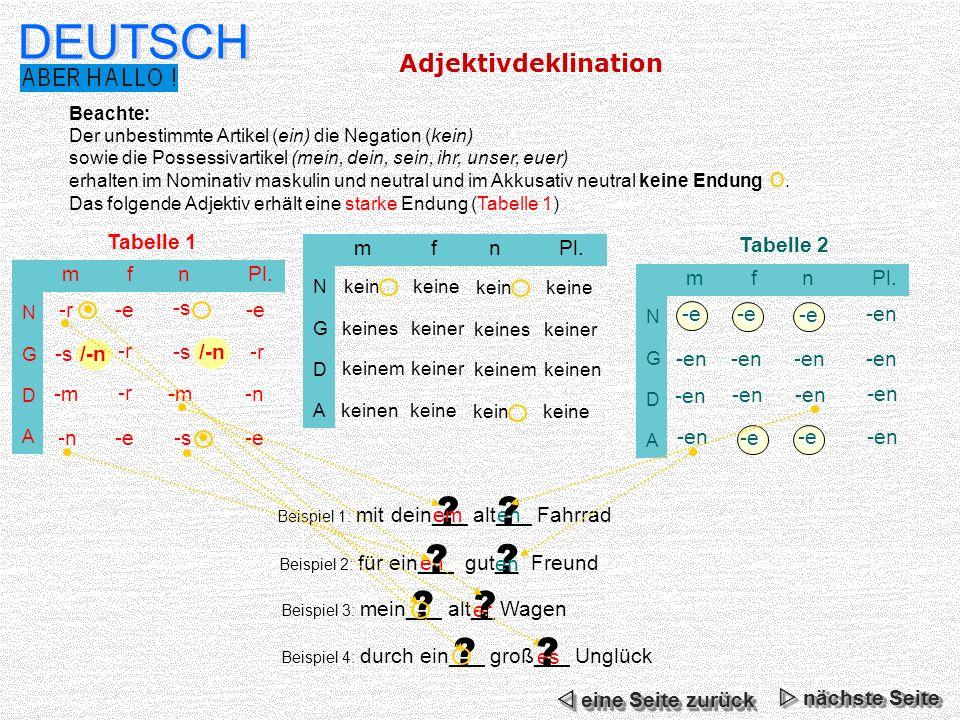 DEUTSCH Adjektivdeklination -r -e -s m f n Pl. -m -n
