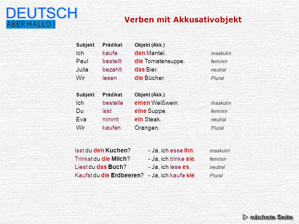 DEUTSCH Verben mit Akkusativobjekt  nächste Seite