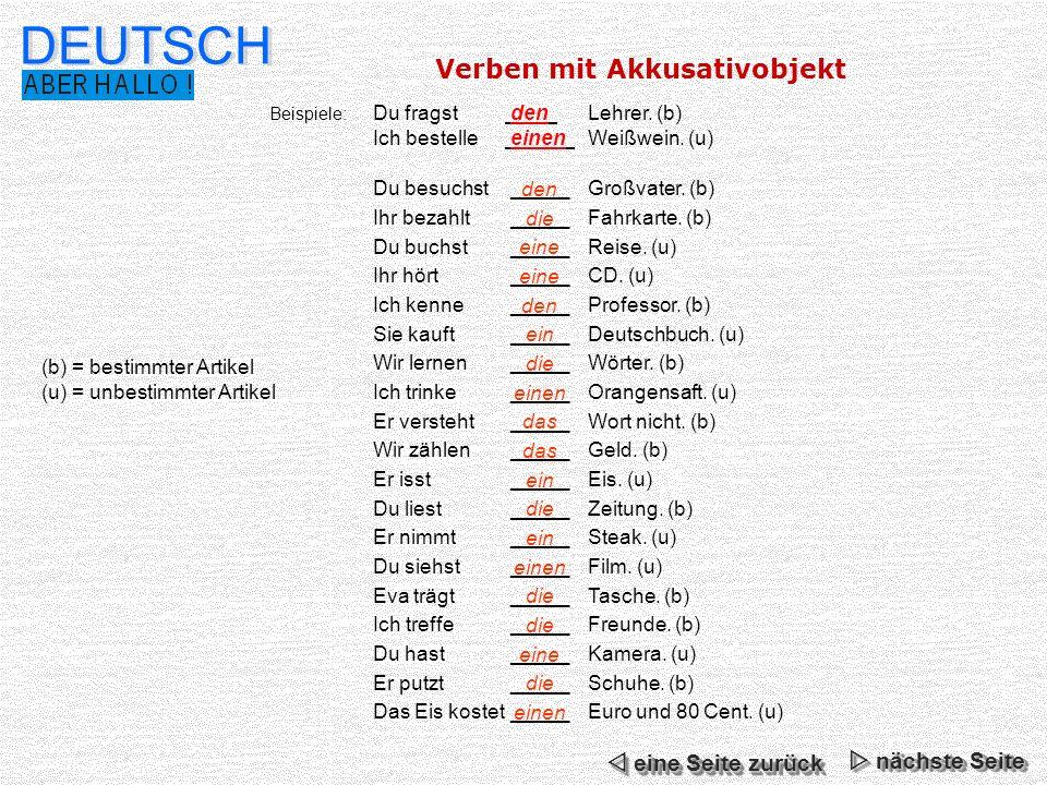 DEUTSCH Verben mit Akkusativobjekt  eine Seite zurück  nächste Seite