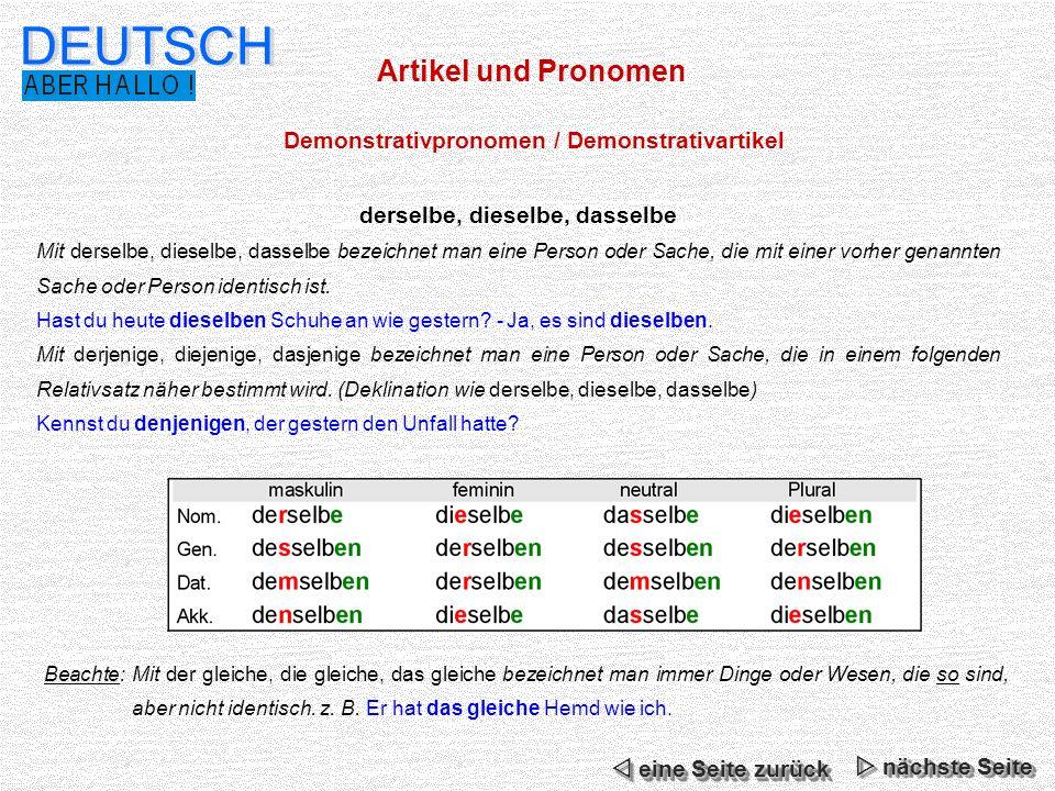 DEUTSCH Artikel und Pronomen