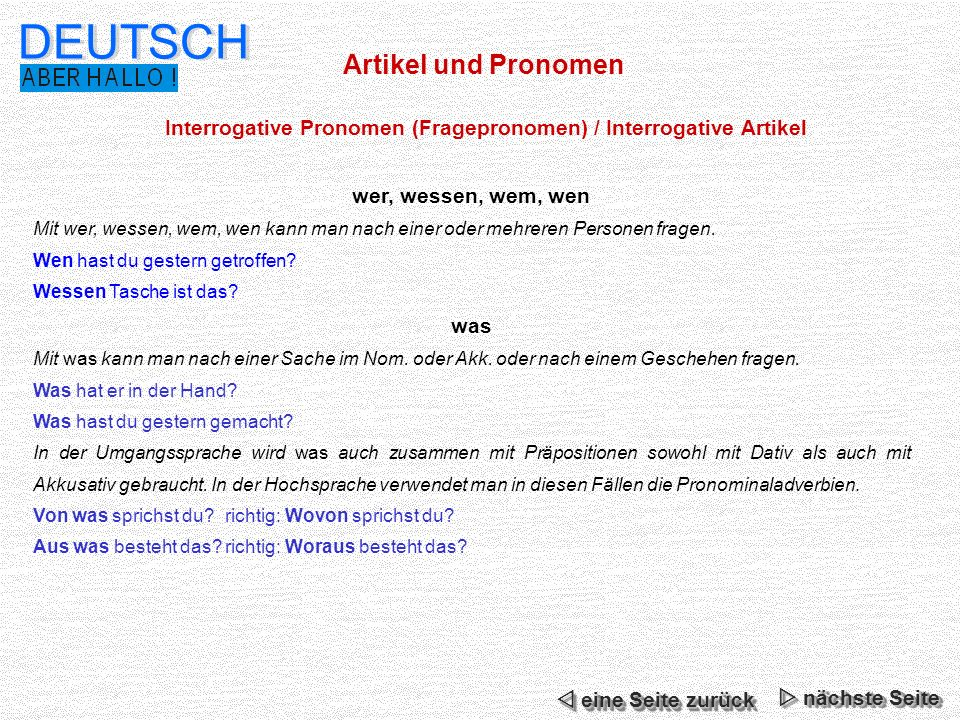 Interrogative Pronomen (Fragepronomen) / Interrogative Artikel
