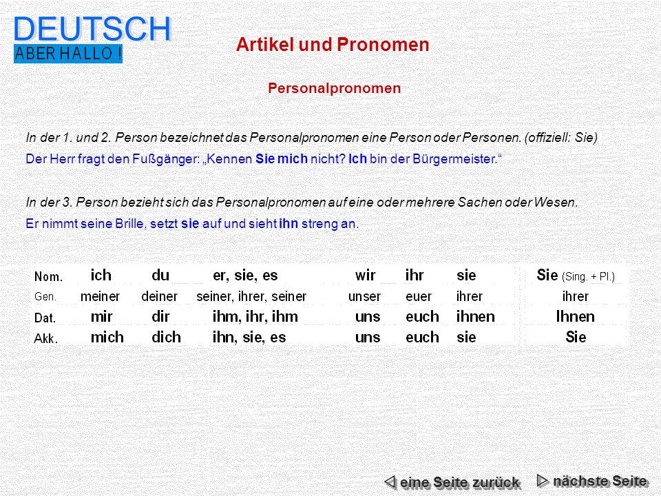 DEUTSCH Artikel und Pronomen Personalpronomen  eine Seite zurück