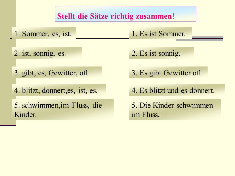 Stellt die Sätze richtig zusammen!