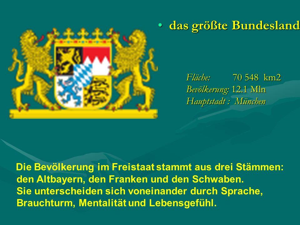 Fläche: 70 548 km2 Bevölkerung: 12.1 Mln Hauptstadt : München