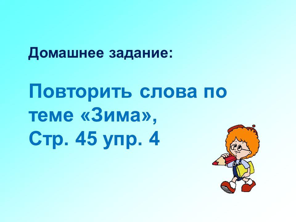 Повторить слова по теме «Зима», Стр. 45 упр. 4
