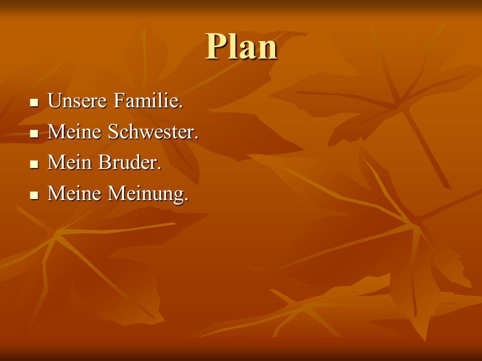 Plan Unsere Familie. Meine Schwester. Mein Bruder. Meine Meinung.