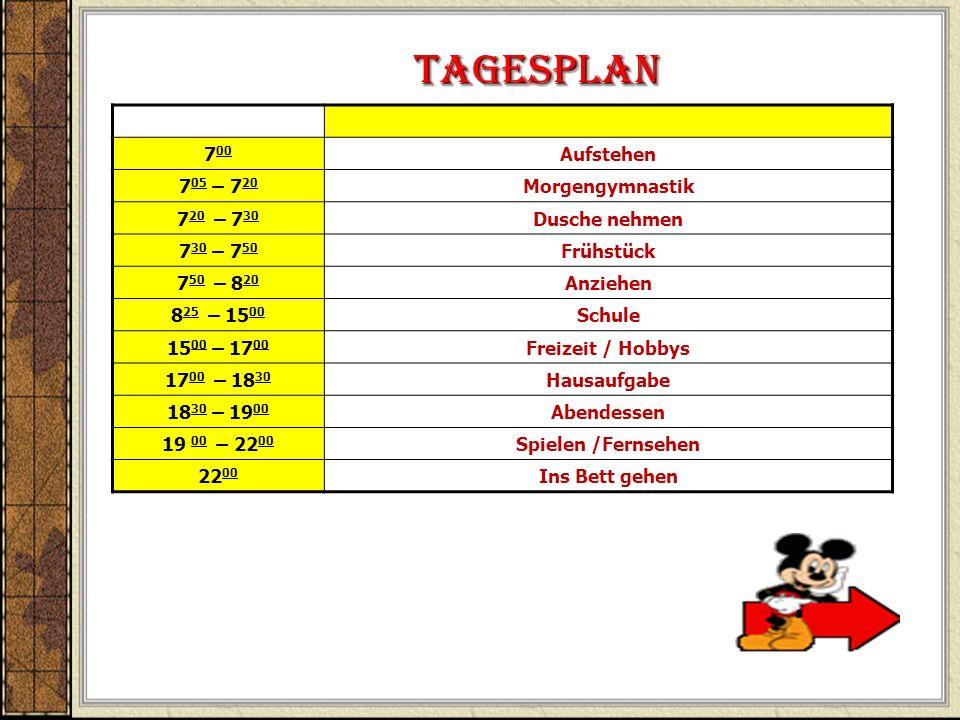 Tagesplan 700 Aufstehen 705 – 720 Morgengymnastik 720 – 730