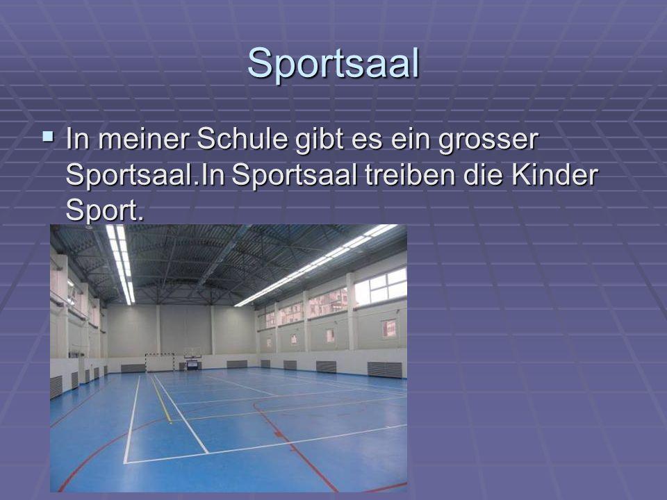 Sportsaal In meiner Schule gibt es ein grosser Sportsaal.In Sportsaal treiben die Kinder Sport.