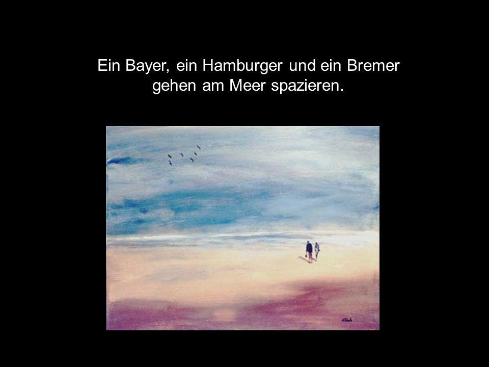Ein Bayer, ein Hamburger und ein Bremer gehen am Meer spazieren.