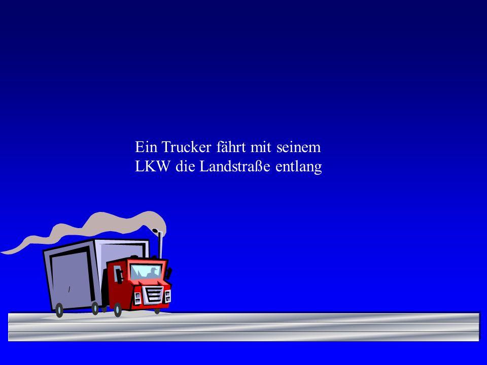 Ein Trucker fährt mit seinem LKW die Landstraße entlang