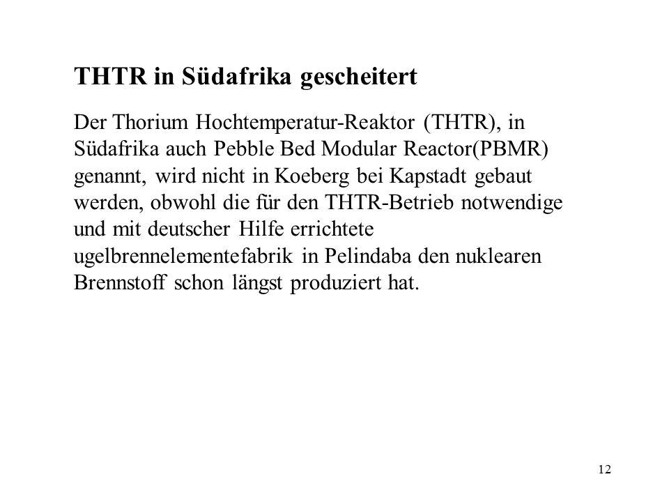 THTR in Südafrika gescheitert