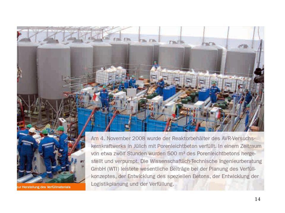 Am 4. November 2008 wurde der Reaktorbehälter des AVR( Arbeitsgemeinschaft Versuchsreaktor) -Versuchsreaktors in Jülich mit Porenbeton gefüllt. Die Verfüllung dient der Stabilierung des Reaktorbehälters und seiner Einbauten sowie dem Einbinden staubförmiger Aktivität. Der verfüllte Reaktorbehälter wird in ca. 2 Jahren herausgehoben und in standortnahes Zwischelager verbarcht.
