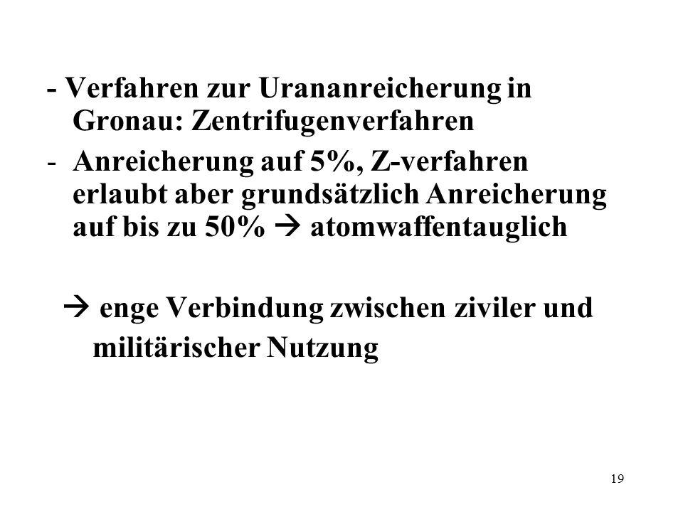 - Verfahren zur Urananreicherung in Gronau: Zentrifugenverfahren