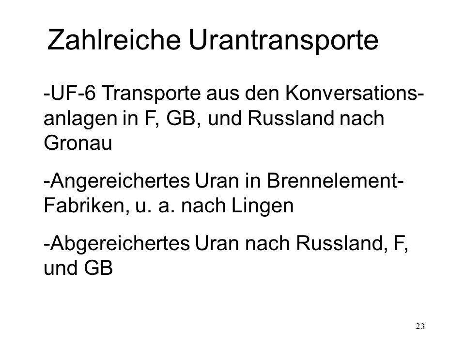 Zahlreiche Urantransporte