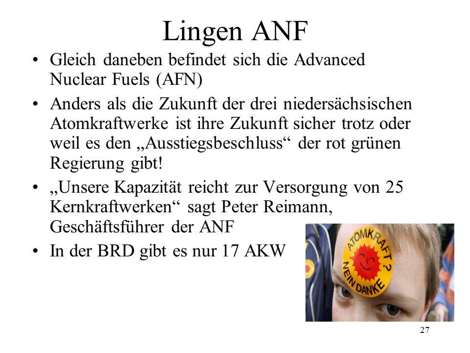 Lingen ANF Gleich daneben befindet sich die Advanced Nuclear Fuels (AFN)