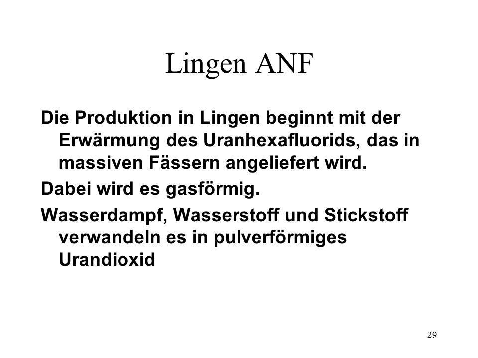 Lingen ANF Die Produktion in Lingen beginnt mit der Erwärmung des Uranhexafluorids, das in massiven Fässern angeliefert wird.