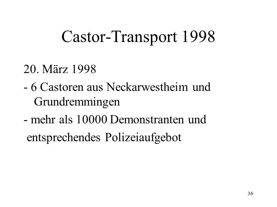 Castor-Transport März 1998