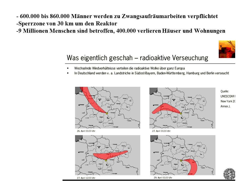- 600.000 bis 860.000 Männer werden zu Zwangsaufräumarbeiten verpflichtet -Sperrzone von 30 km um den Reaktor -9 Millionen Menschen sind betroffen, 400.000 verlieren Häuser und Wohnungen