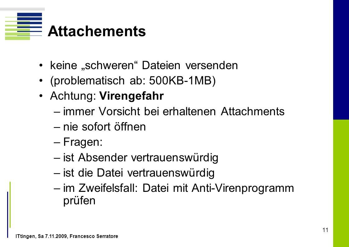"""Attachements keine """"schweren Dateien versenden"""