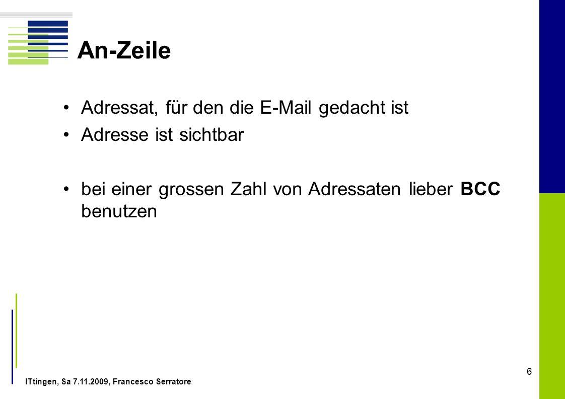An-Zeile Adressat, für den die E-Mail gedacht ist Adresse ist sichtbar