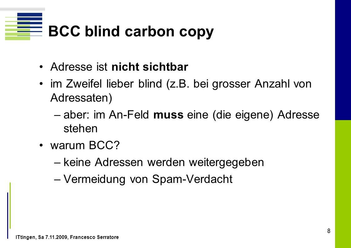 BCC blind carbon copy Adresse ist nicht sichtbar
