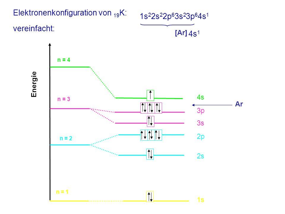 Elektronenkonfiguration von 19K: vereinfacht: