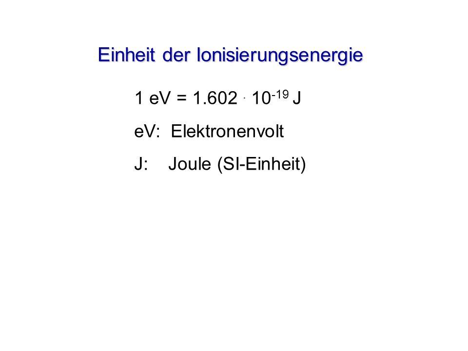 Einheit der Ionisierungsenergie