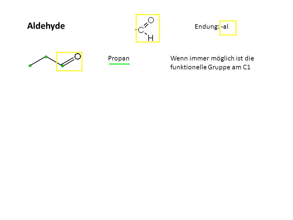 Aldehyde Endung: -al Ketone: Endung: -on Propanal