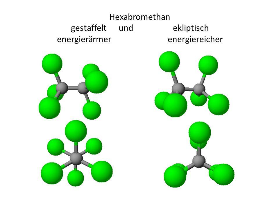 Hexabromethan gestaffelt und ekliptisch energierärmer energiereicher