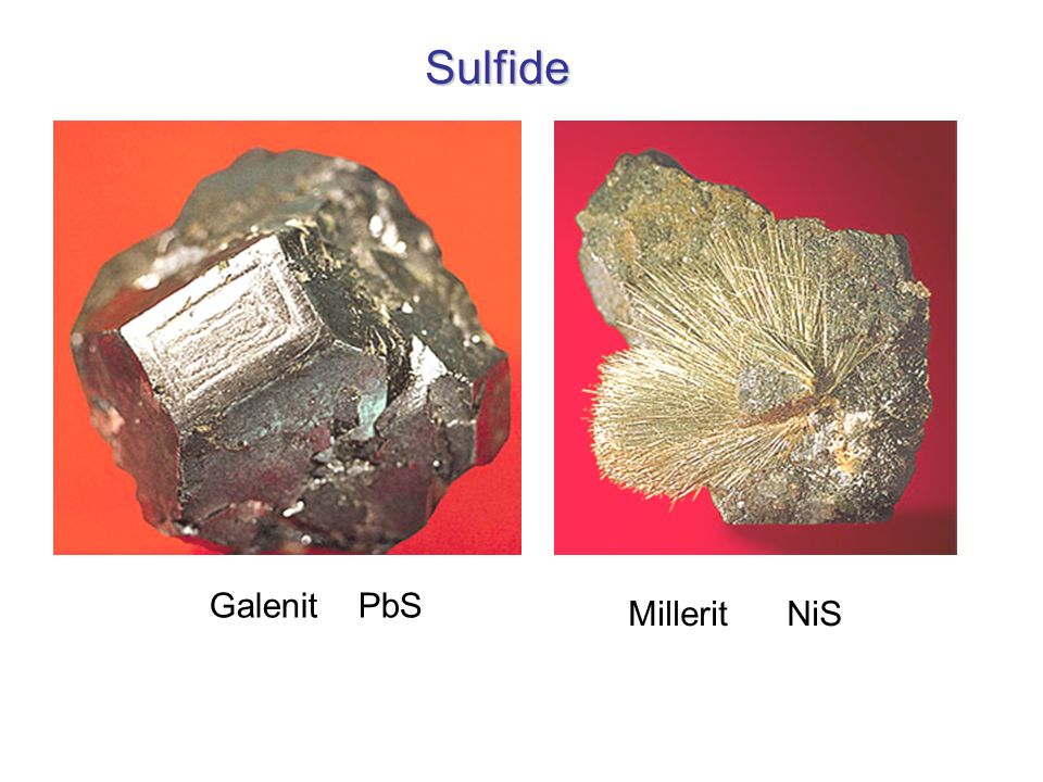 Sulfide Galenit PbS Millerit NiS