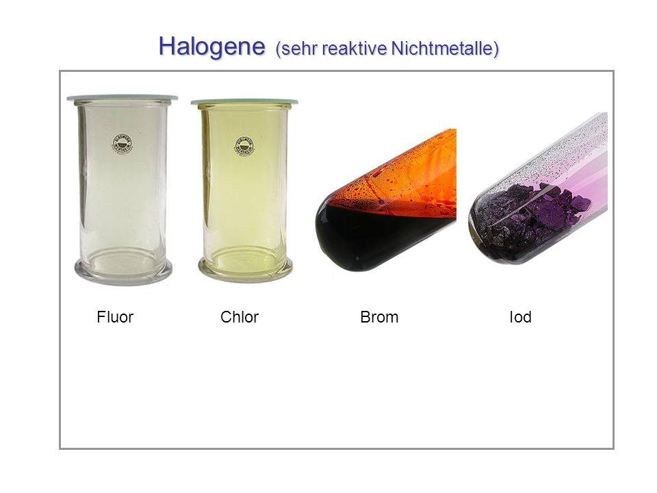 Halogene (sehr reaktive Nichtmetalle)