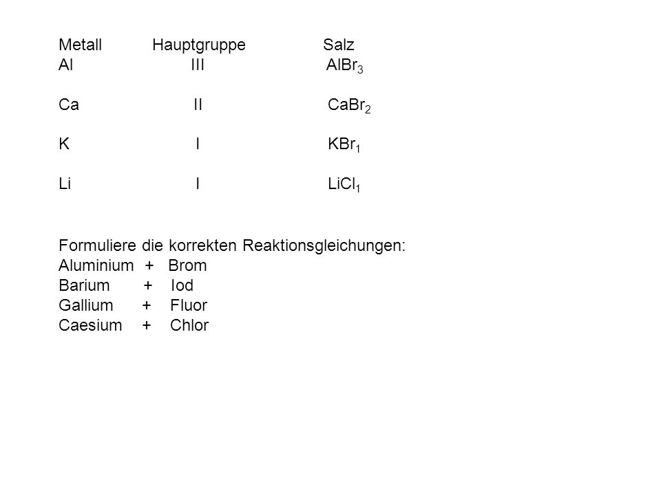 Metall Hauptgruppe Salz