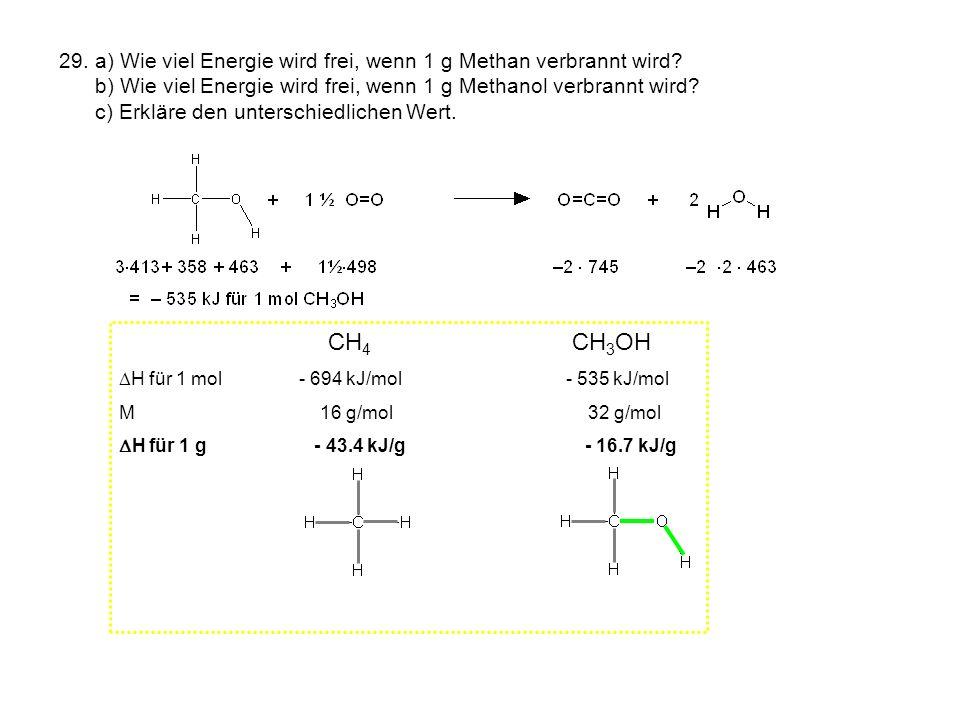 29. a) Wie viel Energie wird frei, wenn 1 g Methan verbrannt wird