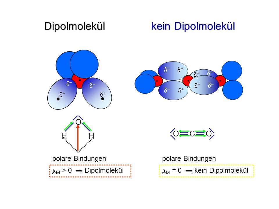 Dipolmolekül kein Dipolmolekül H H O C O d– d+ d+ d– d– d– d+ d– d– d+