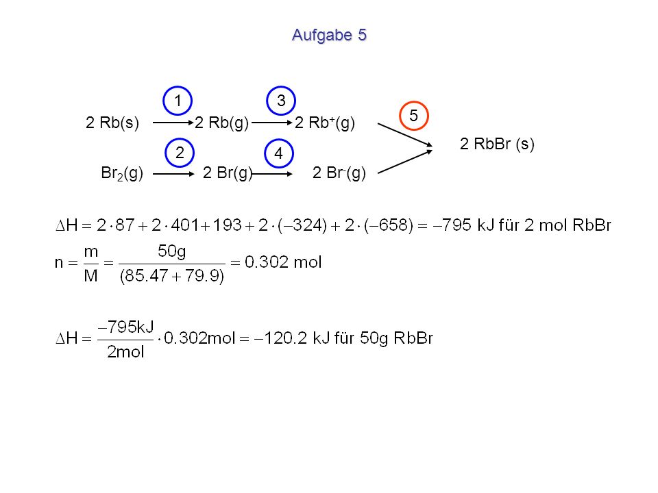 Aufgabe 5 1. 3. 5. 2 Rb(s) 2 Rb(g) 2 Rb+(g) 2 RbBr (s) 2.