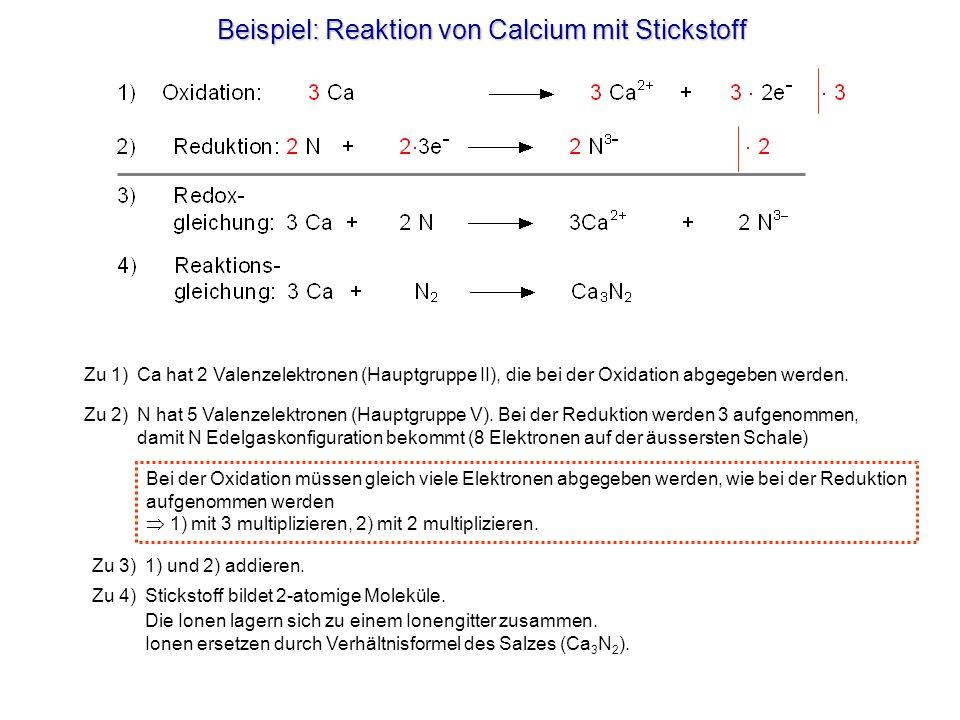 Beispiel: Reaktion von Calcium mit Stickstoff