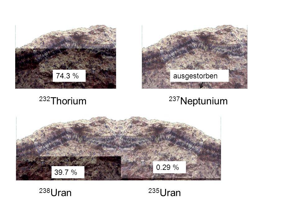 232Thorium 237Neptunium 238Uran 235Uran 0.29 % 74.3 % 39.7 %