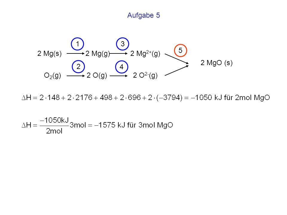 Aufgabe 5 1. 3. 5. 2 Mg(s) 2 Mg(g) 2 Mg2+(g) 2 MgO (s) 2.
