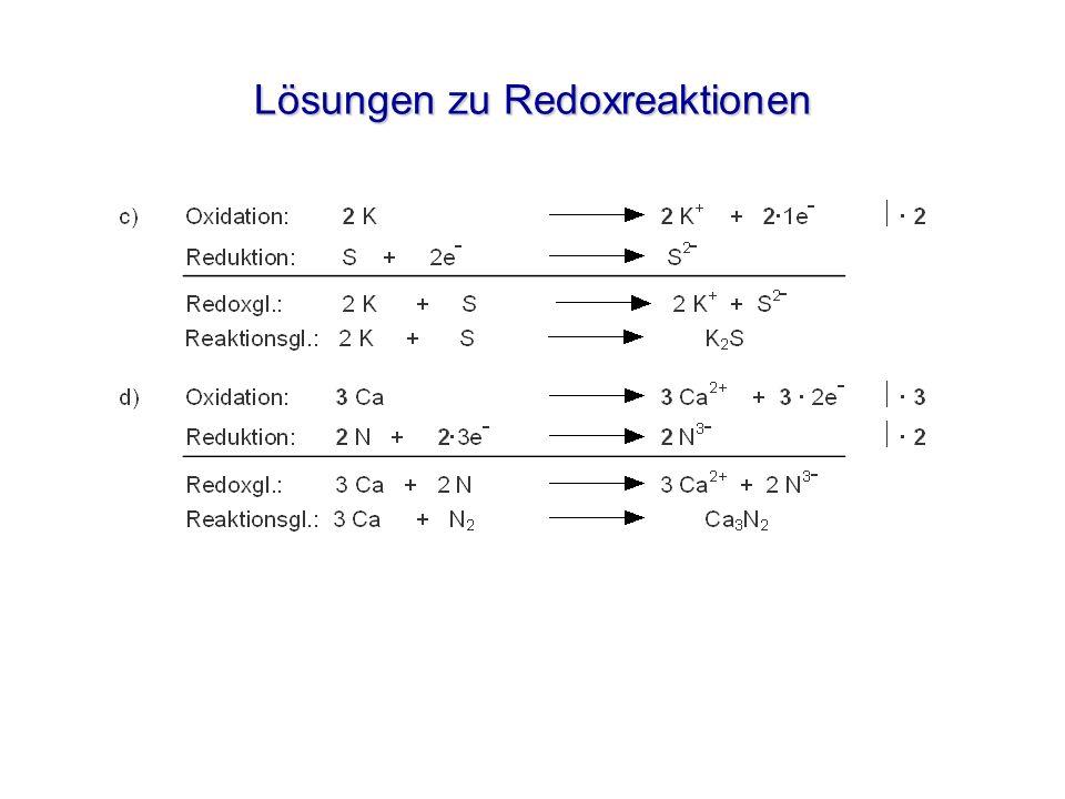 Lösungen zu Redoxreaktionen